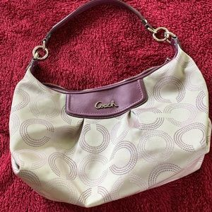 Coach Signature Hobo Bag with Burgundy Trim